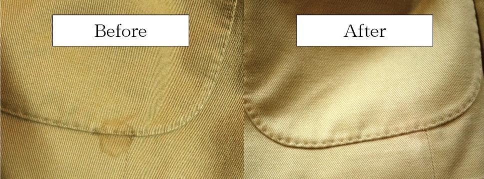 洋服スーツのシミ ジャケット クリーニング
