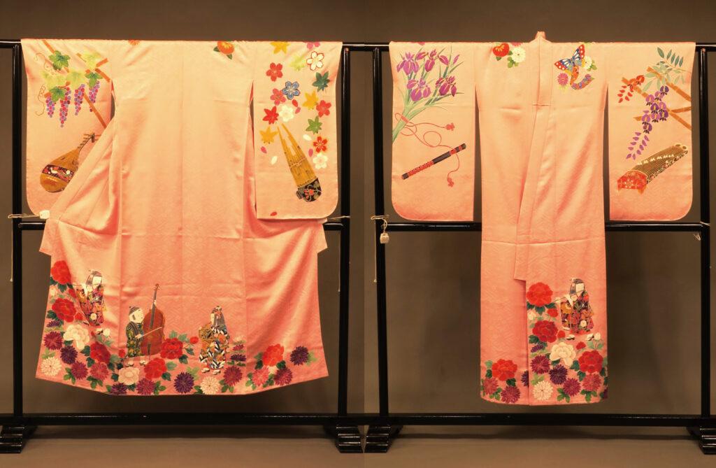 ピンクの子供用着物作る